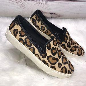 Sam Edelman Leopard Calf Slip On Loafer Sneakers 7